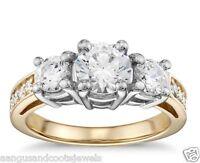 Solid 14k Yellow Multi-tone Gold 2.13 Ct Round Brilliant 3-Stone Diamond Ring