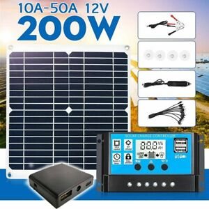 200W Portable Solar Panel Kit 12V Battery Charger Waterproof Dual-USB  Boat USA