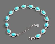 925 Sterling Silver Natural Turquoise Stone December Birthstone Chain Bracelet