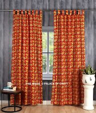 Ethnic Cotton Floral Printed Curtain Indian Handmade 2 PC Drape Panel Valances