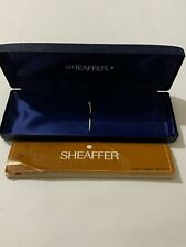 VINTAGE SHEAFFER DOUBLE METAL PEN BOX-USED CONDITION-BOX & BOOKLET ONLY.
