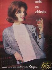 PUBLICITÉ 1960 SWEATERS PROPORTIONNÉS CRYLOR VITOS - ADVERTISING