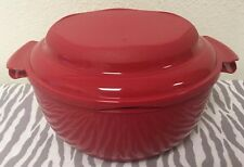 Tupperware Crystalwave Microwave Steamer Bowl Red 10 Cups New
