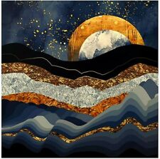 """Society6 Wall Tapestry, 51"""" x 60 Metallic Mountains New w Moon & Gold Art"""