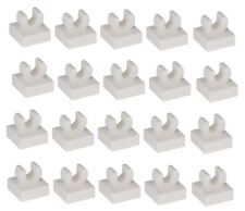 LEGO 20 White Tiles Modified 1 x 1 with Clip - Rounded Edges
