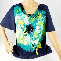 Susan Graver Blue Floral Top Liquid Knit Size Medium