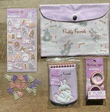 KAWAII DAISO JAPAN FLUFFY FRIENDS RABBIT PASTEL LAVENDER STATIONERY SET *CUTE*