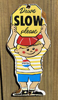 VINTAGE PEPSI COLA PORCELAIN SIGN CROSSING GUARD BOY OIL GAS SODA POP PETROLIANA