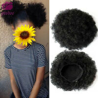 "2Set 6"" Afro Bun Puff Ponytail Small Short Synthetic Curly Hair Buns Drawstring"