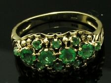 R279 Genuine 9K 9ct Yellow Gold NATURAL Emerald Cluster Anniversary Ring size 8