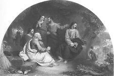 JESUS CHRIST CRYS OVER DESTRUCTION OF Jerusalem ~ 1854 Bible Art Print Engraving