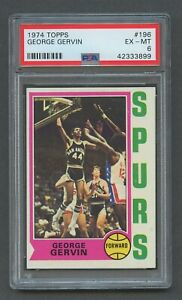 1974 Topps Basketball GEORGE GERVIN RC #196 PSA 6 EX-MT Spurs Rookie Iceman
