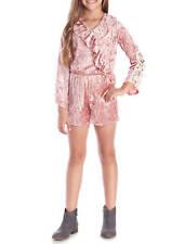 New Girl Size M Speechless Crushed Velvet ROMPER Light Mauve Shorts Lace Bell