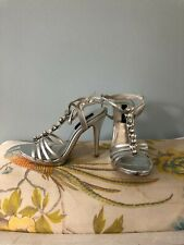 NIB WHBM Laurel Silver Strappy Open Toe Heels Sz 7.5