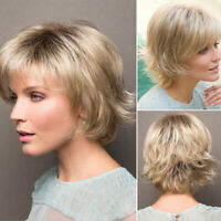 Women Ombre Short Ombre Blonde Wigs Short Pixie Cut Wig Synthetic Straight Hair