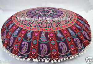 "New Indian Cotton Floor Pillow Cover Mandala Large Meditation Cushion Pouf 32"""