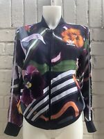 Adidas Originals Women's Track Top Size 12 Navy Multicolour Floral Short Jacket