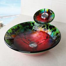 Tempered Glass Bathroom Vessel Sink Chrome Taps Round Bowl Deck Mount Faucet Set