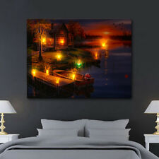 LED Lighted Lake Cabin Sunset Boat Canvas Wall Art Light Up Picture Home Decor