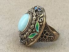 Amy Kahn Russell Bronze Oval Amazonite Gemstone Band Ring Size 11