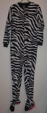 NICK & NORA FLEECE ZEBRA PRINT FOOTED ONE PIECE PAJAMA SIZE S