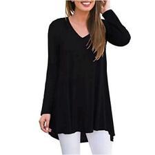 AWULIFFAN Women's Fall Long Sleeve V-Neck T-Shirt Sleepwear, 11 Black, Size