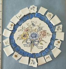 Broken China Plate Mosaic Tiles ~Flower Bouquet ~ Pink ~ Yellow ~ Blue