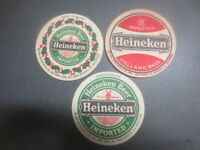 "3 different  HEINEKEN BREWERY, ""Van Munching &  Co  importers "" BEER COASTERS"