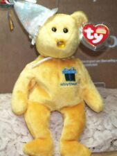 TY Beanie Baby babies bear November Birthday Topaz wearing party hat 2003 8""