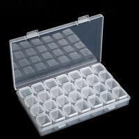 HD_ ALS_ ITS- Plastic 28 Slots Jewelry Art Nail Tools Storage Box Case Organizer