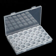 Plastic 28 Slots Jewelry Art Nail Tools Storage Box Case Organizer Beads Charm