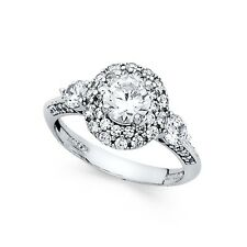 Ring Anniversary Flower Cz Band Bridal 14k White Gold Round Halo Cz Engagement