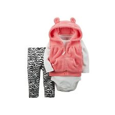 Carter's 3 Pc Outfit Orange Hooded Vest Zebra Striped Pants Size 9 Months