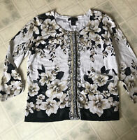 White House Black Market Cardigan Studded Black Tan Floral Snap Front Sz XL