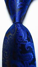 New Classic Paisley Black Blue JACQUARD WOVEN 100% Silk Men's Tie Necktie