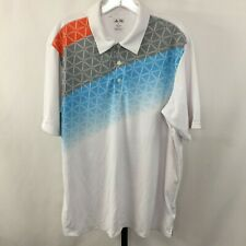 Adidas AdiZero Mens Xl White Blue Orange gray Athletic Polo Golf Shirt