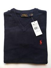 New Mens Ralph Lauren Cotton Jumper Sweater Long Sleeve Navy Blue Size XXL RRP