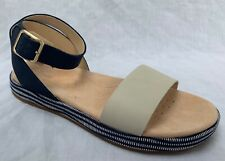 0f5246b3a886 BNIB Clarks Ladies Botanic Ivy Navy Combi Leather Flat Sandals