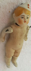 """Antique German Bisque Dollhouse Doll Molded Hat, Painted Sox & Shoes Marked - 4"""""""