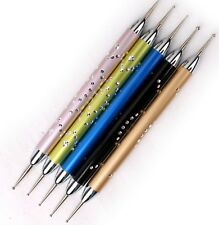 Dotting Drawing Marbleising Nail Art Pen Tool Kit 5 Metal duel ended Rhinestones