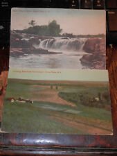 SIOUX FALLS SD - 2 OLD POSTCARDS - LOOKING EAST FROM PENITENTIARY - MAIN FALLS
