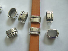 10pcs Antique Silver 10x6mm Slider Spacers Beads For Licorice Leather Cord