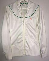 Vintage Ellesse Womens Hoodie Size 14 Front Zip Retro Tennis Style Hoodie Cream