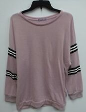 Femme Womens Size 3X Pink Striped Sleeve Thin Crewneck Sweater New