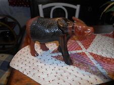 Bien Detallado Vintage asiática de dos tonos talla de madera de búfalo de agua