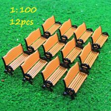 12pcs Model Train Platform Park Street Seats Bench Chair Settee 1:100 TT Scale