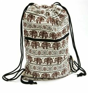 Sling teenage casual backpack with pull cord/drawstring & zip pocket 100% cotton