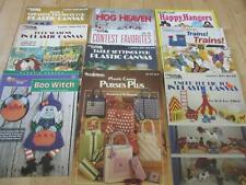 LOT OF 12 PLASTIC CANVAS PROJECT BOOKS BIRDS HANGERS PURSE DOOR HARP WITCH MORE