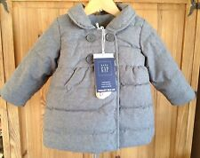 NWT baby GAP Girls Herringbone Puffer Jacket Heather Gray 12-18 Mos Primaloft