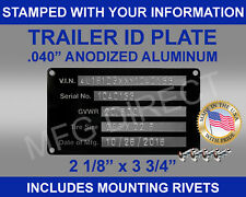 New (STAMPED) Trailer Truck Equipment VIN frame Plate Serial Model # ID Tag USA